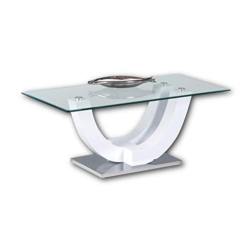 Stella Trading SWING Couchtisch Glas in Hochglanz weiß - stylisher Glastisch mit geschwungenem Gestell in U-Form für Ihren Wohnbereich - 120 x 48 x 60 cm (B/H/T)