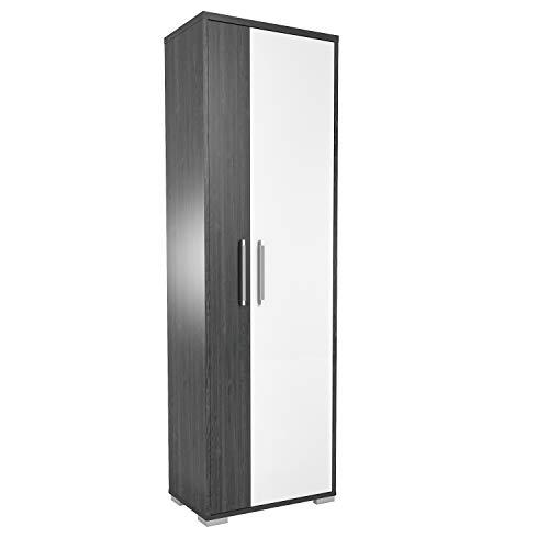 MAJA Möbel VENDO Garderobenschrank, Spanplatte, Ash Oak - weiß Hochglanz, 60,3 x 192,8 x 38,5 cm