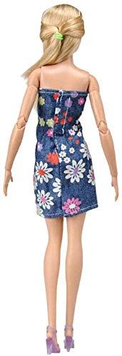 XinYiC Ropa de muñeca vestido de mezclilla para muñecas de 11.5 pulgadas de niña accesorios de traje tubo superior falda de cadera trajes de moda