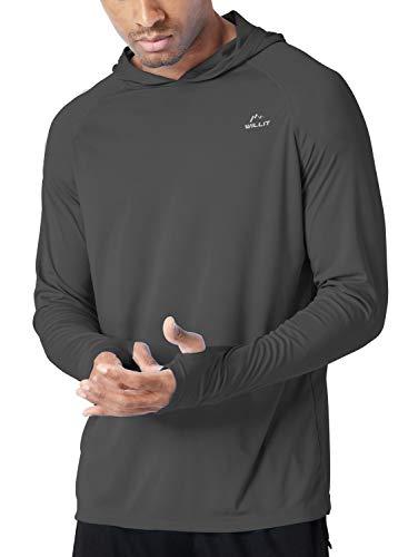 Willit Men's UPF 50+ Sun Protection Hoodie Shirt Long Sleeve SPF Performance Hiking Fishing Shirt Lightweight Deep Gray S