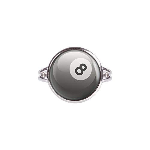 Mylery Ring mit Motiv 8-Ball Eight-Ball Pool-Billard Kugel Schwarz Weiß Silber 14mm