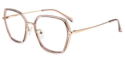 Firmoo Blaulichtfilter Brille ohne Sehstärke Entspiegelt Damen Braun-pink, Moderne Blaulichfilter Computerbrille gegen Blaulicht Kopfschmerzen, UV Blaulicht Schutzbrille für Bildschirme