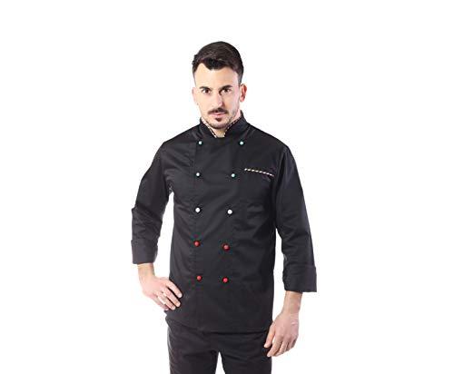 Giacca Cuoco e Chef Nera Italia - 100% Cotone - per Uomo - con Bottoni Antipanico - Casacca per Ristorante e Cucina - Ricamo Gratuito - Made in Italy (L)