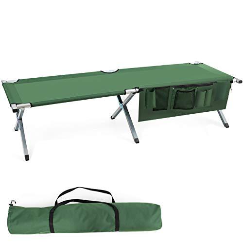 COSTWAY Cama de Camping Cama Plegable Carga hasta 205 kg Cama Individual con Bolsillo Lateral y...