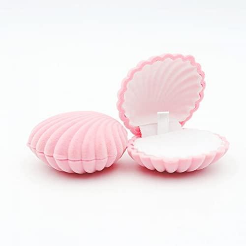 Morantsale 1 pieza Shell forma hermosa terciopelo boda anillo de compromiso caja para pendientes collar joyería exhibición caja regalo titular