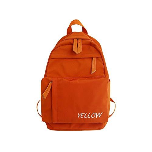 MNBVCX College-Stil Koreanische Version des Buchstabens Stickerei Studententasche Weibliche Koreanische Version des Lässigen Rucksack Orange 27X15X42Cm