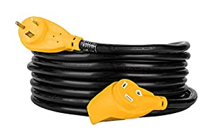 Camco (55191) 25' PowerGrip Heavy-Duty Outdoor 30-Amp Extension Cord for RV and Auto   Allows for Additional Length to Reach Distant Power Outlets   Built to Last by Camco