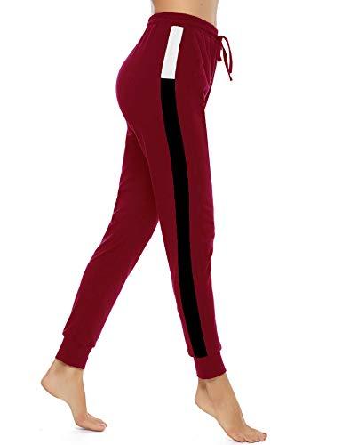 Akalnny Pantaloni Tuta Donna Estivi Pantalone Sportivi Lunghi con Tasche per Corsa Sport Yoga Casual in Cotone(Vino Rosso, L)