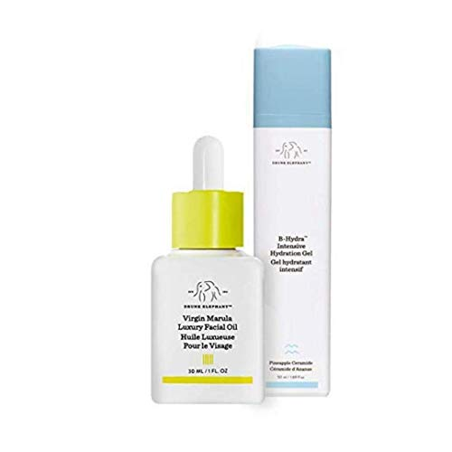 Drunk Elephant Full Sized Moisture Duo- Hydrating and Moisturizing Duo with B-Hydra Intensive Hydration Gel (50 Milliliters) and Virgin Marula Luxury Facial Oil (30 Milliliters)