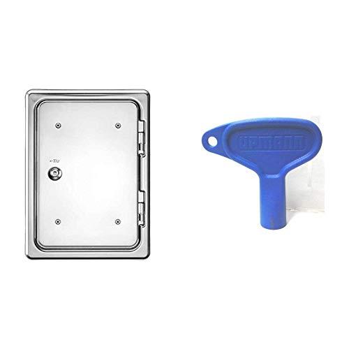 Upmann 10137 Kamintür K30/4 SV 20x30 & Schlüssel für Vierkant Kunststoff, 1 Stück, blau, 20150