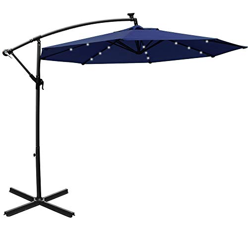 Mefo garden 10ft Solar Patio Outdoor Umbrella Offset Cantilever Hanging Umbrella 360 Degree Rotation with 24 LED Lights and Heavy Duty Steel Cross Base System (Navy Blue)