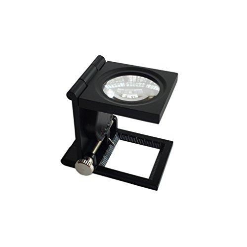 Lupa Bolsillo 10X 28mm Tela Escala de la medida Cuentahilos Metal (negro) Plegable en Tres Partes Lupa con 2 luz LED