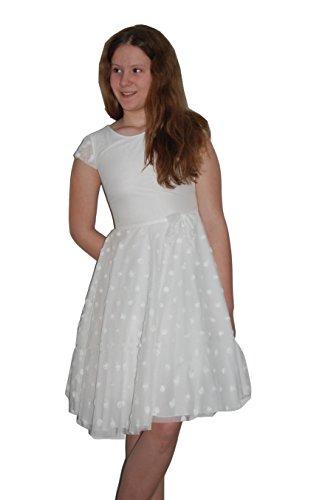 Helgas Modewelt Schlichtes Kommunionkleid, Kommunionskleid, Blumenmädchen Kleid mit Tüll, 3/4 Länge, Offwhite, Gr. 152