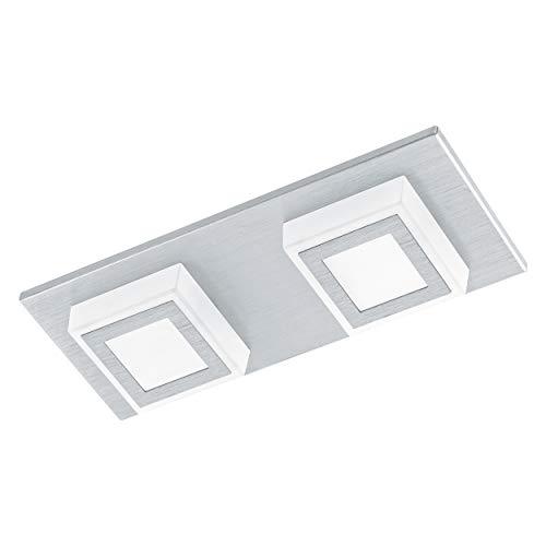 Eglo Masiano Applique Murale/Plafonnier 2 Spots en Aluminium Brossé 3,3 W