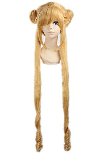 etruke Anime Sailor Moon longue jaune cheveux bouclés queue de cheval de Cosplay Perruques
