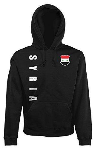 AkyTEX Syrien Syria Kapuzenpullover Hoody Trikot Wunschname Wunschnummer (Schwarz, L)