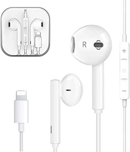 Auriculares para iPhone Auriculares con micrófono y Control de Volumen para iPhone 7/7 Plus/8/8Plus/X/XR/XS/XS Max/11/11 Pro colocarse con Todos los Sistemas iOS