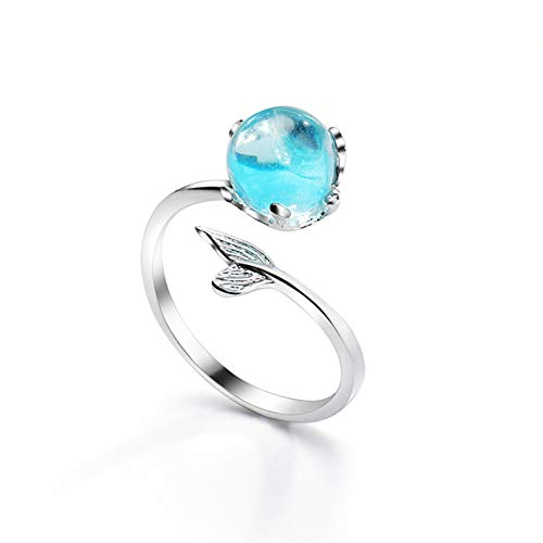 anello perno in schiuma con coda di sirena e cristallo blu e Argento, cod.