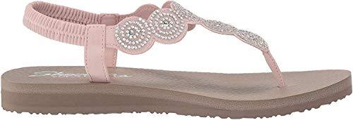 Skechers Women's Meditation-Stars & Sparkle-Circular Rhinestone Slingback Thong Flip-Flop, Light Pink, 9 M US
