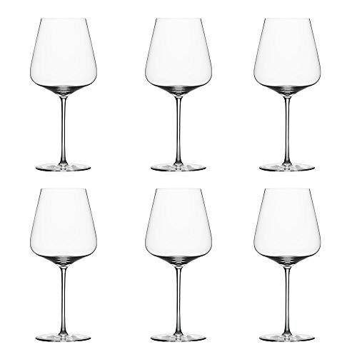 Zalto Denk'Art Bordeaux Wine Glass, Set of 6 Crystal Glasses for Red Wine like Bordeaux and Cabernet