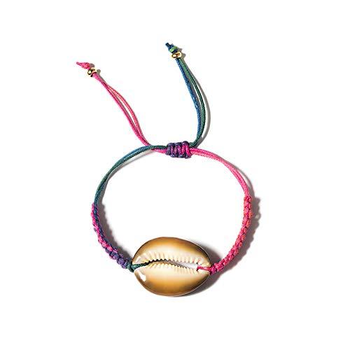 N/A Bracelet jewelry Shell Bracelet for Women Handmade Woven Rope Adjustable Bracelet Boho Charm Wax String Bracelets Red Blue Chain Jewelry Valentine's Day present