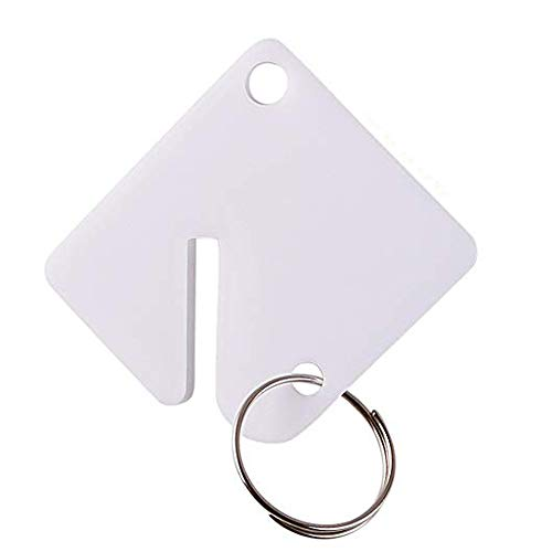 GoorDik 60 Pcs Key Tags Blank Plastic Upgrade Round Split Ring Durable Key Identify Tags Bulk Key Tags for Key Cabinet 1.5 inches Square Shaped