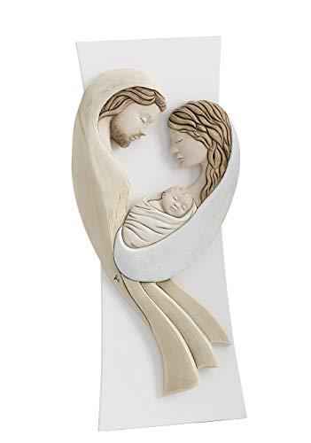 MAZZOLA LUCE quadretto Sacra Famiglia Moderna capezzale per Camera da Letto con Supporto da appoggio Made in Italy
