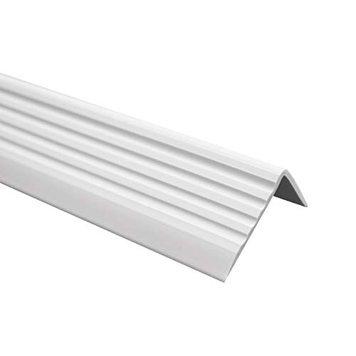 Treppenkantenprofil Selbstklebend PVC Kunststoff Antirutsch-Profil Winkelprofil 40x25, Hellgrau, 80cm