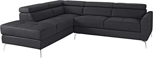 Loft24 A/S 5-Sitzer Sofa L-Form Couch Ecksofa Polsterecke mit Recamiere Leder Metallbeine (schwarz Recamiere Links, Leder)