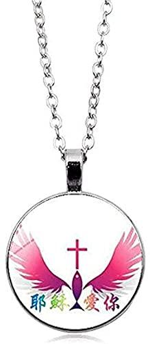 ZGYFJCH Co.,ltd Collar Bebé Madre Madre Collar Jesucristo Colgante católico Collar de Vidrio religioso Regalos Regalo