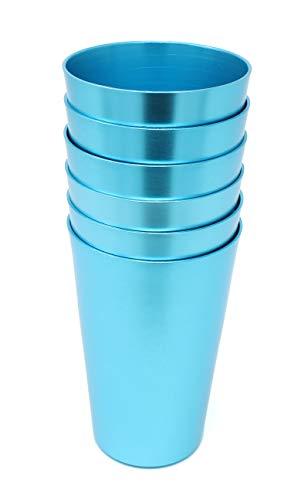 Aluminum Tumbler Reusable 16 OZ Drinking Cups - Bright Anodized Color - Set of 6 - Aqua