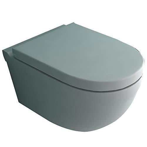 Alpenberger Spülrandloses Hänge-WC inkl. Quick-Release WC-Sitz mit Absenkautomatik | Tiefspül-Wand-WC mit Befestigungsset | Kein Überspritzen durch ideale Wasserführung | passend zu GEBERIT