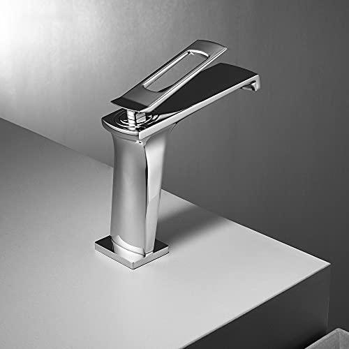ALYHYB Master Bathroom Frife Faucet, manija de un Solo Agujero Recipiente de Lavabo, fregadería, Grifo de Lavabo frío y Caliente, para Hotel Balcony Studio Baño (Color : Chrome)