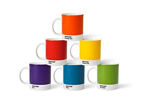 Pantone BecherSet1 Porzellan Becher 6er-Set, 6 Kaffeetassen à 375 ml, Coffee, mit Henkel, spülmaschinenfest, Klassische Farben