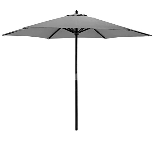 Harbour Housewares Garden Parasol Umbrella - Large 6 Ribbed Canvas Sun Shade with Wooden Pole - Pulley Operated - Grey -...