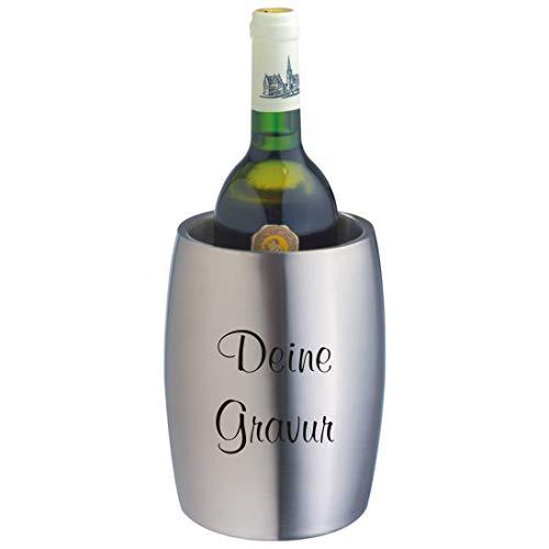 Schmalz Edelstahl Weinkühler Flaschenkühler mit Lasergravur Silber doppelwandig Sektkühler graviert zum Geburtstag (mit Gravur)