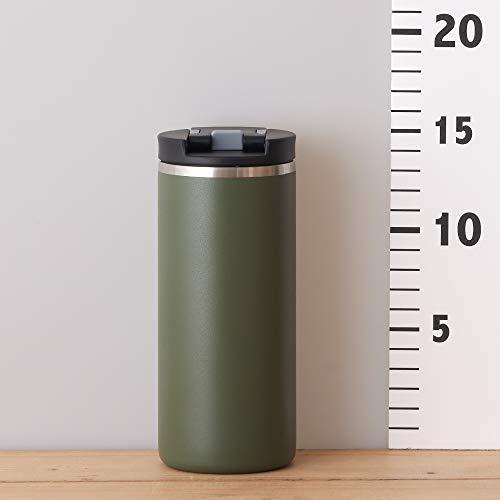 ドウシシャ コンビニマグ ふた ロック付き 真空断熱 0.37L カーキ