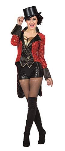 Karneval-Klamotten Zirkusdirektorin Dompteuse Kostüm Frack Damen rot schwarz