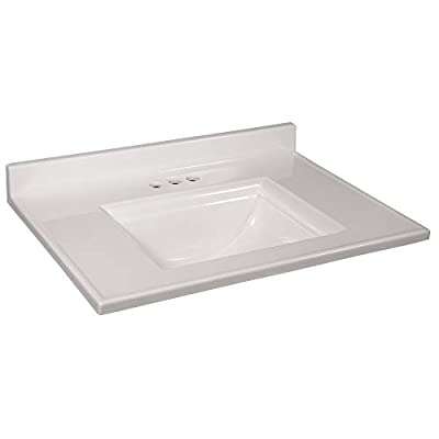 Design House 557637 Camilla Vanity Top with 4 Backsplash, 31 22-inches, Solid White