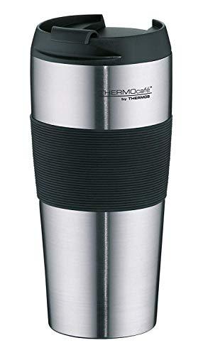ThermoCafé Thermobecher ThermoPro, Kaffeebecher to go Edelstahl mattiert 400ml, Isolierbecher mit Schiebeverschluss, Becher spülmaschinenfest 4056.205.040, Coffee to Go 4 Stunden heiß, BPA-Free