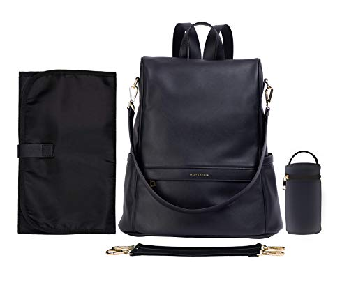 Mia + Sophia Leather Diaper Bag Backpack, Changing Pad Stroller Straps Bottle Holder