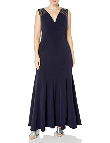 Alex Evenings Women's Plus-Size Long Fit and Flare Dress with Beaded Illusion Straps, Dark Navy, 18W (Apparel)
