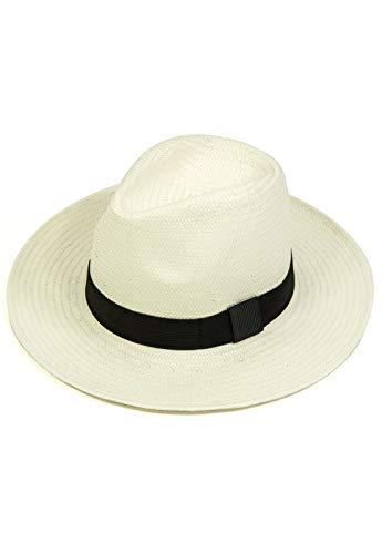 Chapéu Chapelaria Vintage Estilo Panamá Branco - Aba Média - Faixa Preta – P