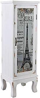 Armario de Columna Shabby Chic Armario parís Torre Eiffel Gabinete Cristal Palazzo Exclusivamente
