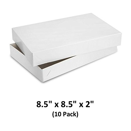 24712dae451 White Gloss Cardboard Apparel Decorative Gift Boxes with Lids for Clothing  and Gifts 8.5x8.