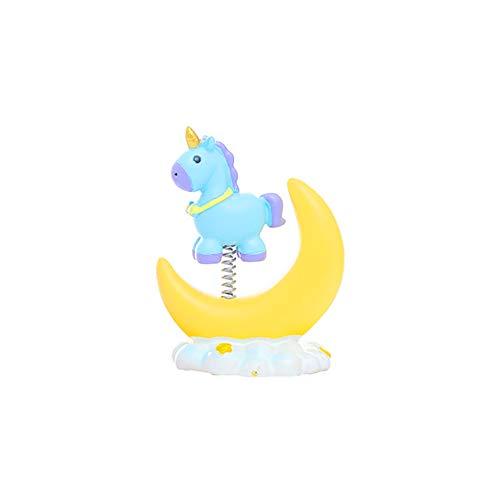 Ruiting Figura Unicornio en Luna Unicornio Muñeca Resina Miniatura Decoración de Coche Oficina y Hogar Regalo para Niños y Adultos Azul