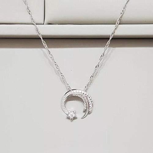 ChuanHan Meteor Garden - Colgante de Platino Plateado 925 Simple para Mujer, Estrella con Colgante 925 Collar de Plata Esterlina Actriz Colgante de Luna, Cadena de Onda de Agua, Jardín de mete