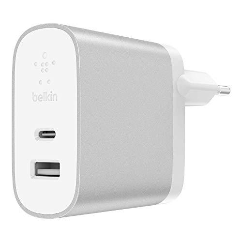 Belkin Boost Charge - Cargador doméstico (USB-C, 27 W + USB-A de 12 W( 39 W en total), USB multipuerto con carga rápida para iPhone 11, 11 Pro/Pro Max, XS, XS Max, XR, X, SE, 8/8 Plus y otros)