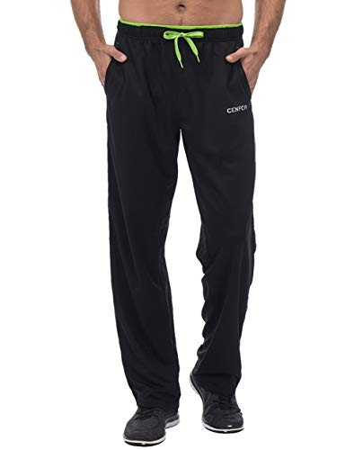CENFOR Men's Sweatpant with Pockets Open Bottom Athletic Pants for Jogging, Workout, Gym, Running, Hiking, Training(Black,L)