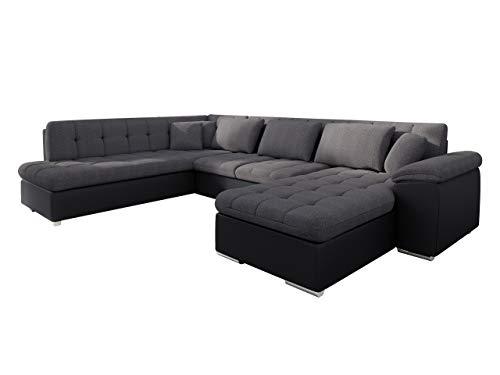 Mirjan24 Eckcouch Ecksofa Niko Bis! Design Sofa Couch! mit Schlaffunktion und Bettkasten! U-Sofa Große Farbauswahl! Wohnlandschaft vom Hersteller (Ecksofa Rechts, Soft 011 + Boss 12)